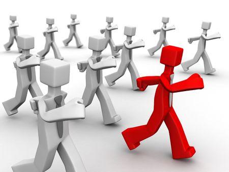 Red leader leading group of businessman 3d illustration