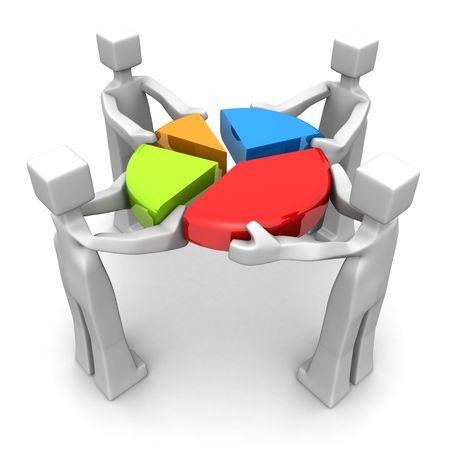 Photo pour Businessman work together to combine a pie chart 3d illustration   - image libre de droit