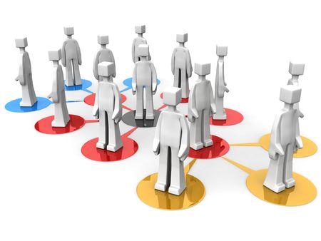 Businessman teams network multi level concept 3d illustration