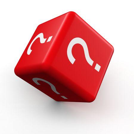 Photo pour Question mark symbol dice rolling 3d illustration - image libre de droit