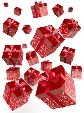 Mystery gift and surprises concept gift box falling with question mark pattern 3d illustration