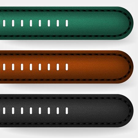 Illustration pour Leather strap on a wristwatch. Black, brown and green leather. - image libre de droit