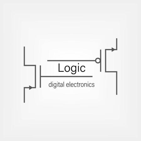 Illustration pour Symbols for building blocks of logic gates. N-MOS and P-MOS transistor schematic symbols. Electrical company logo design. - image libre de droit