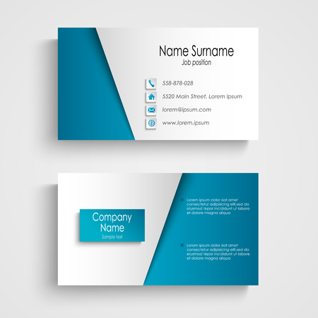 Modern light blue business card template vector eps 10
