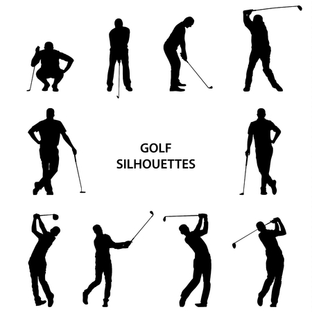 Illustration for Golf different silhouettes on white background vector eps 10 - Royalty Free Image