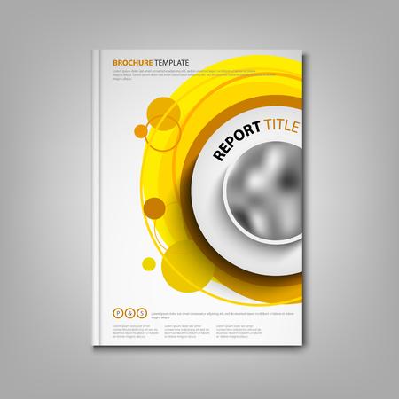 Illustration pour Brochures book or flyer with orange circular design pointers vector eps 10 - image libre de droit