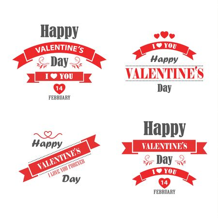 Illustration for Valentine retro vintage poster with red ribbons template vector eps 10 - Royalty Free Image