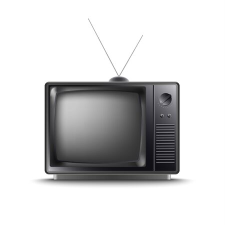 Illustration pour Retro old television in dark design on white background vector eps 10 - image libre de droit