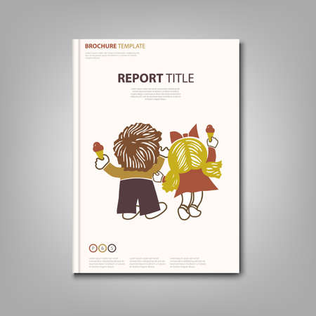 Illustration pour Brochures book or flyer with boy and little girl ice cream template - image libre de droit