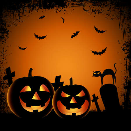 Illustration pour Halloween ghostly poster with pumpkins in cemetery template vector - image libre de droit