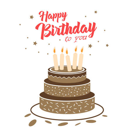 Illustration for Birthday card with chocolate cake and stars template vector eps 10 - Royalty Free Image