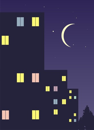 Night city landscape. Illustration.