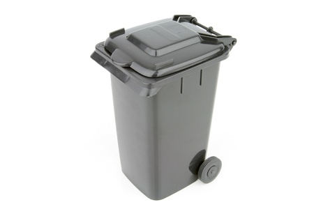Grey garbage wheelie bin with a closed lid on a white background