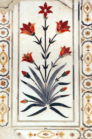 Details of polished marble surface is covered by stone inlay  Red Fort in Agra, India