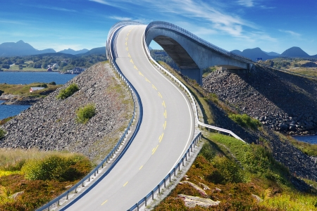 Picturesque Norway nature landscape with bridge. Atlanterhavsvegen