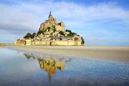Landscape with Mont Saint Michel abbey  Normandy, France