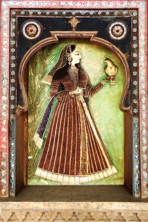 The decoration of the Bundi Palace. India