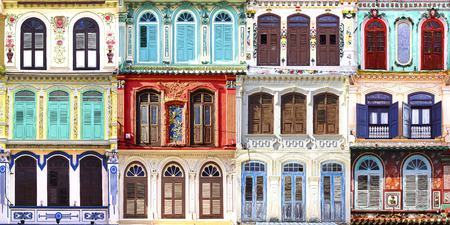 Collage of the ancient unique windows. Melaka, Malaysia