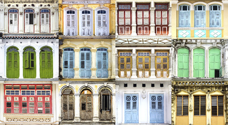 Collage of the ancient unique windows  Georgetown, Malaysia