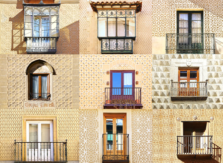 Collage of the ancient unique windows of Segovia, Spain