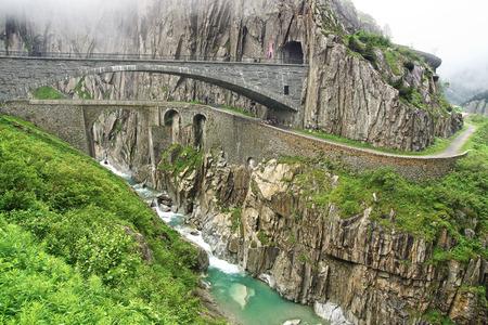 Devil's bridge at St. Gotthard pass. Switzerland