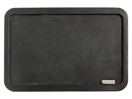 Black plastic whiteboard with chalk isolated on a white background