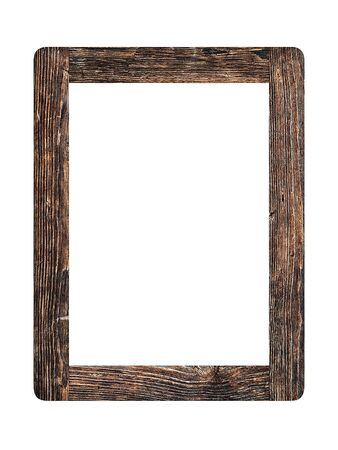 Photo pour Simple old vintage wooden picture frame isolated on white background - image libre de droit
