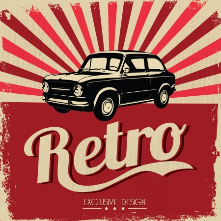 Vintage car design flyer - Grungy style