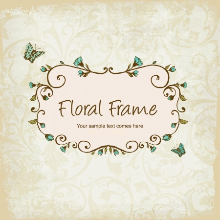 Photo for  floral frame with Butterly - Royalty Free Image
