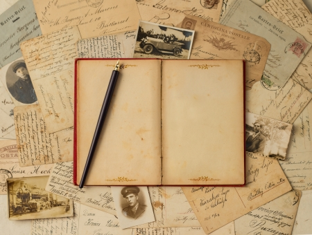 Vintage background with old post cards and empty open book
