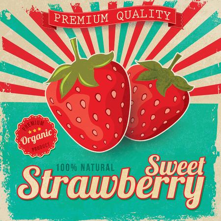 Foto de Colorful vintage Strawberry label poster vector illustration - Imagen libre de derechos