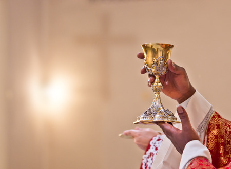 Photo for hands of the priest raise the cup containing the blood of Christ, the sacred grail - Royalty Free Image