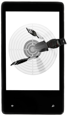 Target throwing knives screen smartphone black white background isolated