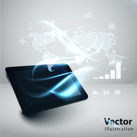 Photo for Modern communication technology illustration with tablrt pc and high tech background  - Royalty Free Image