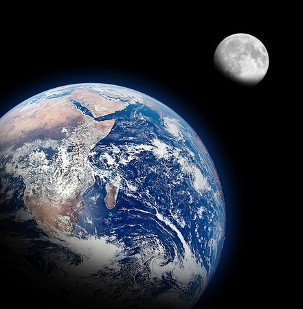 Photo for The Half Earth and The Half Moon Background - Royalty Free Image