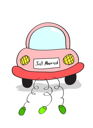 Hand drawing illustration of just married on car driving cartoon doodle