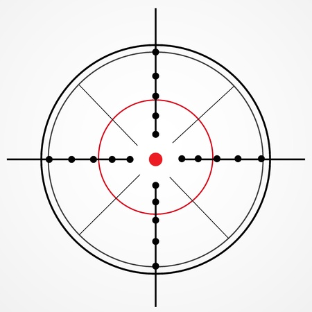 Crosshair with red dot on white