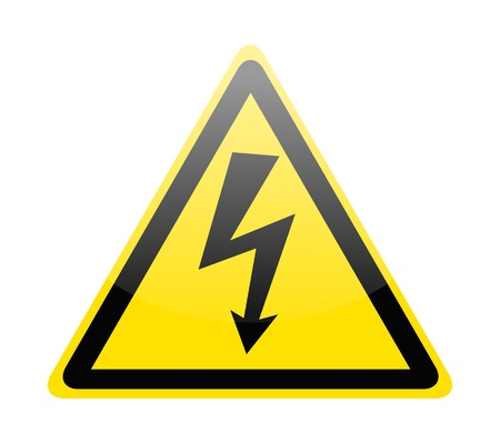 Sign of danger high voltage symbol isolated on white