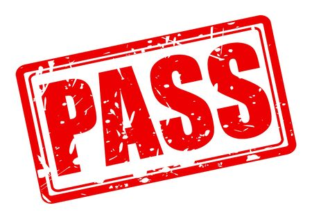 Pass red stamp text on white
