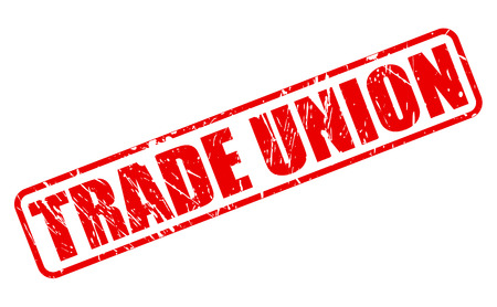 TRADE UNION red stamp text on white