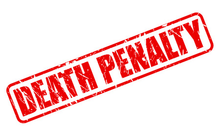 DEATH PENALTY red stamp text on white