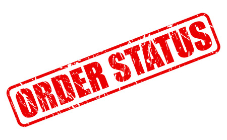 ORDER STATUS RED STAMP TEXT ON WHITE