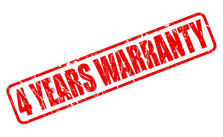 4 YEARS WARRANTY red stamp text on white