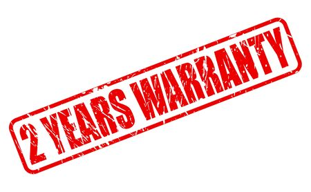 2 YEARS WARRANTY red stamp text on white
