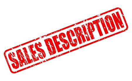 SALES DESCRIPTION red stamp text on white