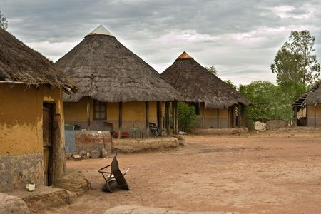 Poverty face of a real African village, Kalahari area, no what is presented in the tourist tours