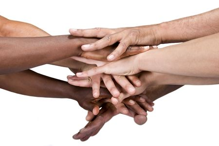 pile of hands isolated on white, Caucasian, African American, Hispanic race.