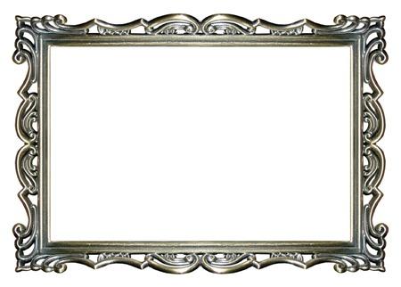 Photo pour an empty ornate silver picture frame  - image libre de droit