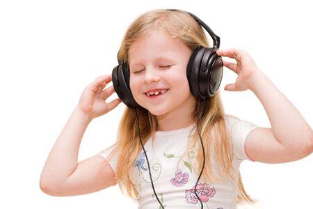 girl in headphones singing song