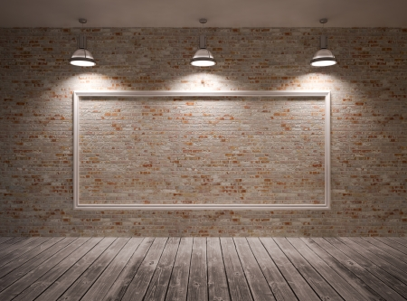 Photo pour Poster in room on a brick wall with lamps   frame - image libre de droit